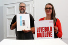 Marty Vreede and Jo Giddens with works that will be included in their exhibition at Space Gallery on Saturday.  Photo/Stuart Munro