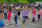 Junior students show off their line dancing skills at Kai Iwi School's pet day. Photo/Bevan Conley
