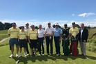 Golfing dignitaries from the US and UK along with some Paraparaumu Beach Golf Club members.