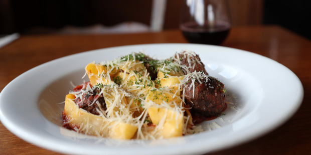 The pappardelle meatballs at The Refreshment Room. Photo / Getty Images