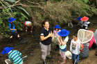Jasmine Pirini having no trouble engaging Year 1-3 Peria School children in a study of a local stream.