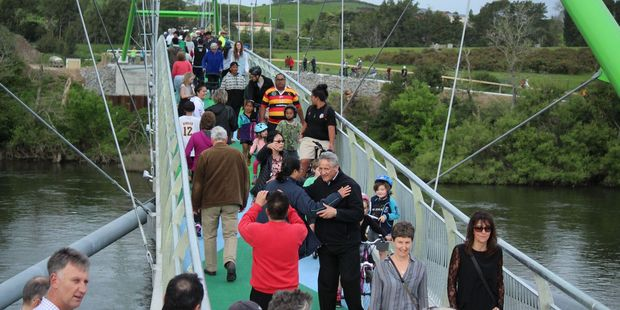 People took time to admire the view while walking over the newly opened bridge. Photo / Tom Rowland