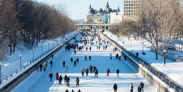 Skating on the Rideau Canal when it freezes over in winter