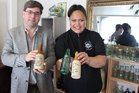 Junk in the Trunk Owner Rawinia Henderson and Infinity Antiques owner Dave McMillan with some of the bottles that will be displayed at The Antiques, Collectibles and Bottle fair later this month.