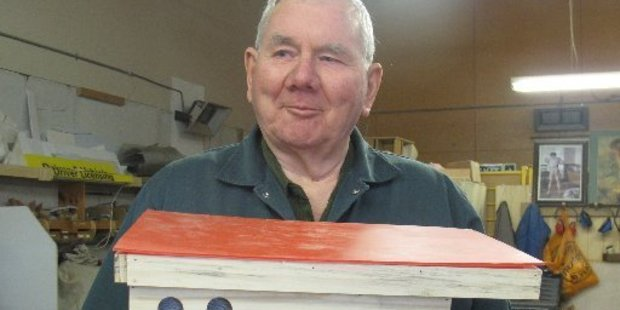 Ivan Stick with one of his bumble bee nests at the Whanganui Men's Shed.