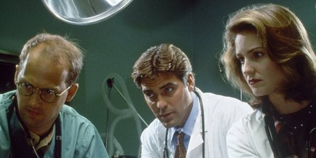 Anthony Edwards as Dr. Mark Greene, George Clooney as Dr. Doug Ross, Sherry Stringfield as ER Resident Dr. Susan Lewis. Photo / Getty