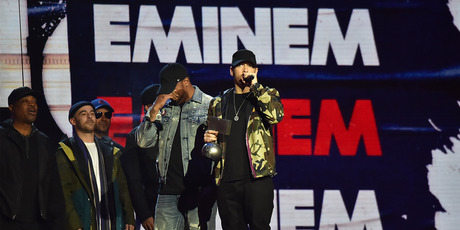 Eminem accepts award on stage during the MTV EMAs 2017. Photo / Getty