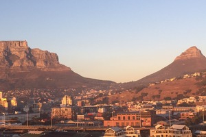 Table Mountain as the sun rises in Cape Town. Photo: Tracey Bond