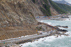 Reconstruction work, including a sea-wall, underway at Ohau Point, on State Highway One, north of Kaikoura. Photo / Mark Mitchell