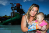 Haley Ferguson, from Napier, with 8-month-old daughter Nevayah, with swimming nappies at Splash Planet in Hastings. Photo/Paul Taylor