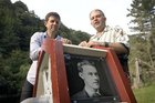 Filmmakers, Stephen Batstone (left) and David Reeve with a picture of Walter Prince. Photo / Supplied