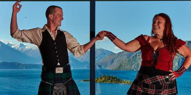 Event organisers Ben Clark and Claire French practise their moves ahead of the inaugural Ceilidh Dance Festival to be held in Wanaka. Photo: Garrick Cameron