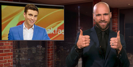 Media Scrap host Vaughan Smith gives Jack Tame two thumbs up.