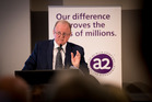 The always understated Geoff Babidge, managing director and CEO of a2 Milk, addresses shareholders  at this week's AGM. Photo / File