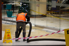 Contractors were called in to clean up the sewage leak at the Atrium on Elliot. Photo / Dean Purcell