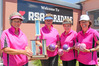Taradale RSA skip Robyn Wallace (left), Mere Nepia, Di Bentley and Cheryn Menhennett with the spoils from the North Island Chartered Club four bowls tourney. Photo/Warren Buckland