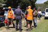 Family members, police and volunteers at the search base on the edge of Mataraua Forest, southwest of Kaikohe. Photo/Peter de Graaf