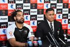Kiwis coach David Kidwell and captain Adam Blair cut a dejected figure following their Rugby League World Cup quarter-final loss to Fiji. Photo/Photosport
