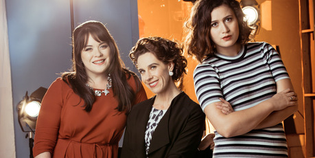 Laura Daniel, Jackie Van Beek and Rose Matafeo star in Funny Girls. Photo / Supplied