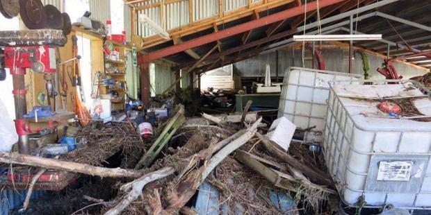 The implement shed after the water receded. Photos: Supplied