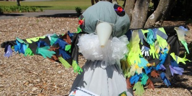 A recycled tui has taken out the top spot in the primary school section of the Scarecrow Trail Competition.
