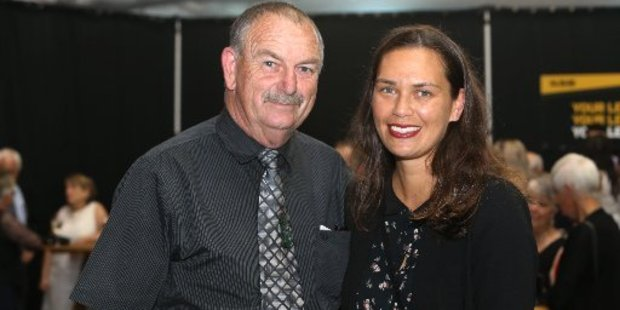 Kaitaia's Shelley Kitchen with father Colin 'Toss' Kitchen at the Northland Sports Awards in Whangarei on Friday shortly before being named as one of two new inductees to the Northland Legends of Sport.