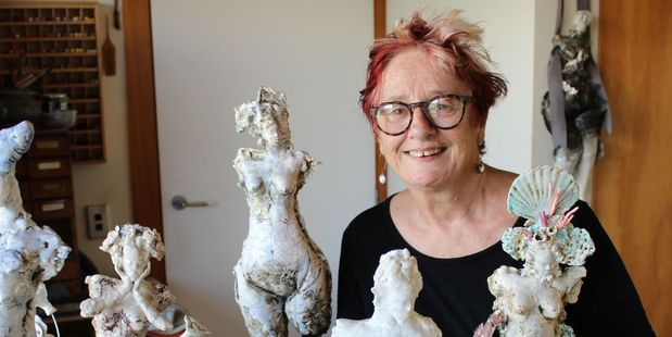 Raumati South artist with some of her clay and glaze creations for this weekend's Glorious exhibition.