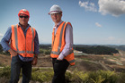 Puhoi to Warkworth Superintendent Mark Blanchard, left, with Brett Gliddon of NZTA in front of the site works at the top of Moir Hill. Photo / Nick Reed