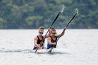 Lisa Carrington (right) and Caitlin Ryan comfortably won K2 200m and 500m finals at the Blue Lakes 2 Regatta at the weekend. Photo / Jamie Troughton/Dscribe Media Services