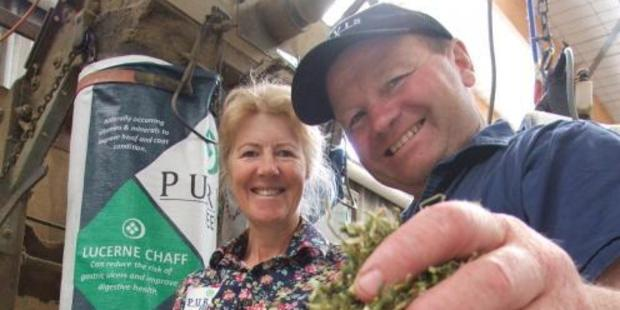 Henrietta and Graeme Purvis, of Purvis Feeds, at Waianakarua, with their lucerne chaff. Photos: Sally Rae