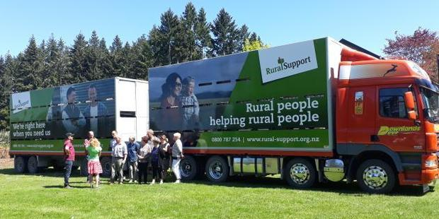 In an effort to grow Rural Support Trust awareness, the group partnered with Downlands Deer, which has provided one of its trucks as a mobile billboard. Photo / Supplied