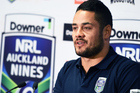 Jarryd Hayne addresses a press conference to announce his participation in the 2017 Downer NRL Auckland Nines. Photo/Photosport