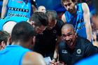 Paul Henare, coach of the New Zealand Breakers, addresses the team. Photo/Photosport