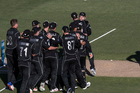 The Black Caps celebrate the runout of Josh Hazelwood during the Chappell-Hadlee Series opener. Photosport
