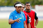 Coach Tana Umaga marshaling his troops at Blues pre-season training. Photo / photosport.nz