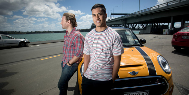 Dean O'Gorman James Rolleston and a Mini Cooper from the new Kiwi film, Pork Pie. Photo/Dean Purcell