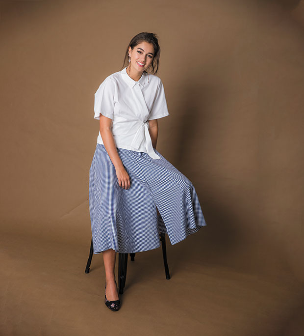 Topshop shirt $70. Seed Heritage skirt $159.90. Kathryn Wilson heels $299. Mimco earrings $129.
