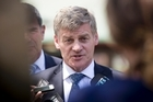 Prime Minister Bill English addresses the media during a visit to the Karaka Sales held at the New Zealand Bloodstock Centre in Karaka. 30 January  2017 New Zealand Herald Photograph by Dean Purcell.