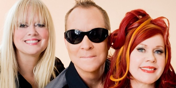 American new wave band The B-52s. Cindy Wilson, Fred Schneider and Kate Pierson.