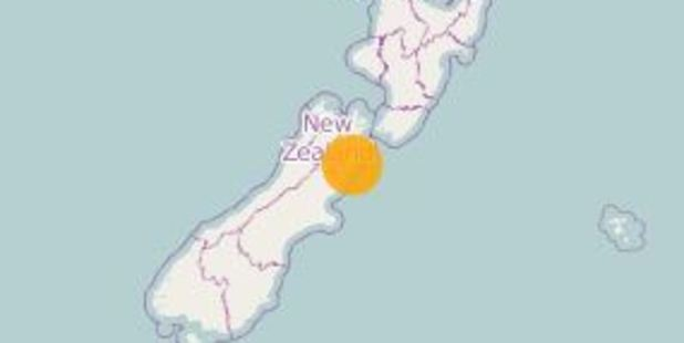 "GeoNet later categorised the quake as ""strong"" in intensity and said it was at a depth of 16km. Photo / GeoNet"