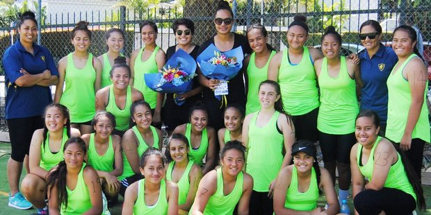 AGGS' new Year 9 netball academy members with Finau Pulu, left, Malia Paseka, centre right, and Nicolette Tato (nee Ropati), right. Photo / Supplied