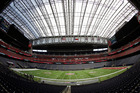 The field at NRG Stadium is prepared for NFL Super Bowl 51. Photo / AP