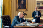 US President Donald Trump, accompanied by Chief of Staff Reince Priebus speaks on the phone with Russian President Vladimir Putin. Photo / AP