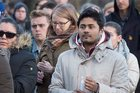 People attend a vigil for victims of the shooting at a mosque in Quebec City, at Dalhousie University in Halifax. Photo / AP