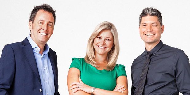 Jesse Mulligan, right, during a short-lived stint on Seven Sharp alongside Mike Hosking and Toni Street.