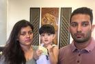 Asha Rani (left) and Vikram Salaria with their daughter Khwahish. Photo / Simon Collins