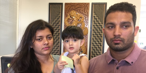 Loading Asha Rani (left) and Vikram Salaria with their daughter Khwahish. Photo / Simon Collins