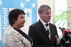 National Party Leader Bill English with Paula Bennett during his State of the Nation speech held at the Stamford Plaza.
