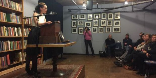 Claudia Rowe at a launch for her book. Photo / Twitter / @ltcoff