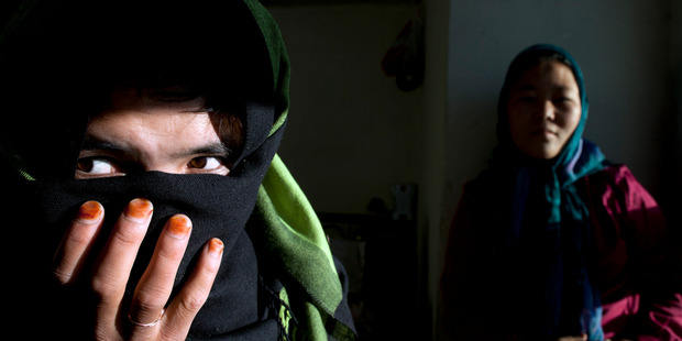 Girls at a safe house for battered women in Bamiyan, Afghanistan. Photo / Getty Images